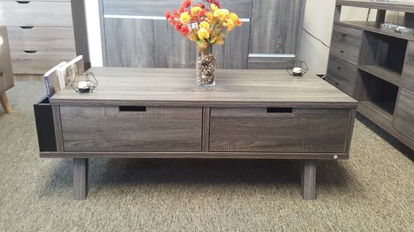 Melody Coffee Table / Center Table, Distressed Grey and Black