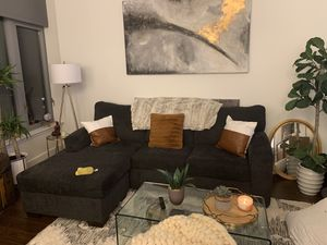 MOVING! SOLD SEPARATELY: Canvas, Dark Gray soft couch, wall art, kitchen table, mirror for Sale in Arlington, VA