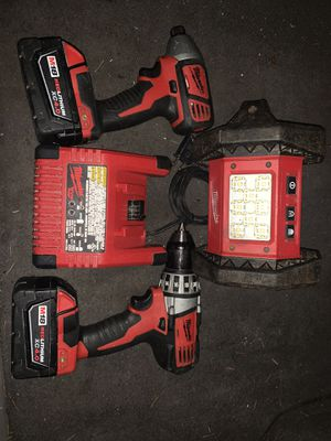 Milwaukee 18v drill and hex impact and light for Sale in Tacoma, WA