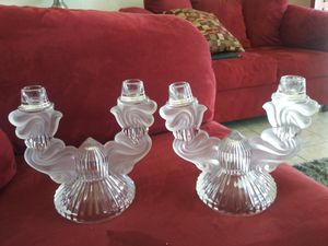 antiques.vintage Set of 2 Vintage Candelabra Clear Glass & FROSTED GLASS Candle Holders for Sale in San Diego, CA