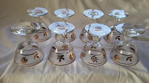 Set of 8 Libby gold trim & foliage sherbert, wine or champagne glasses for Sale in San Pedro, CA