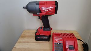 "One key Milwaukee m18 fuel brushless 1/2"" high tork impact Wrench and 5.0 battery and charger for Sale in Chula Vista, CA"