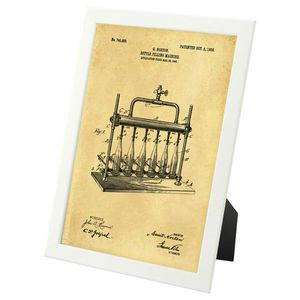Beer Bottling Patent Design - framed art print for Sale in Fairfax, VA