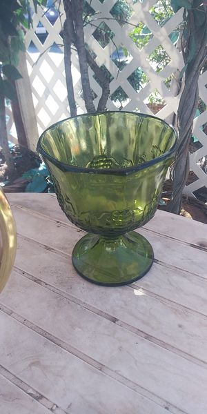 Green glass goblet for Sale in Fresno, CA