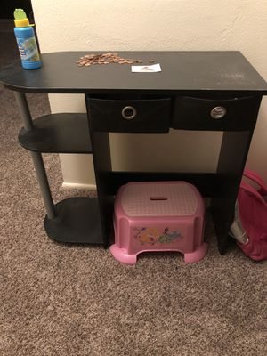 Small black desk w/ drawers. Night stand, & small kids dresser for a girl . The dressers bottom drawer needs to be re nailed I just gently placed bac for Sale in Tacoma, WA