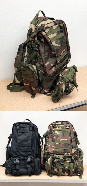 New in box $25 each 55L Outdoor Sport Bag Camping Hiking School Backpack (Black or Camouflage) for Sale in Downey, CA