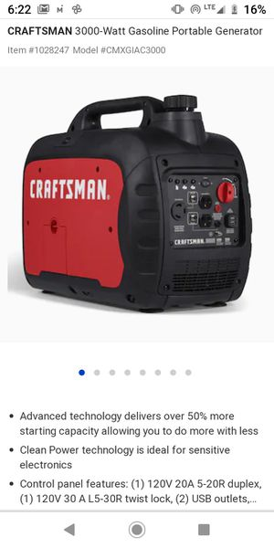 Craftsman 3000i generator for Sale in Fort Mill, SC