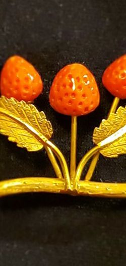Gold Brooch With Coral Strawberries for Sale in Denver,  CO