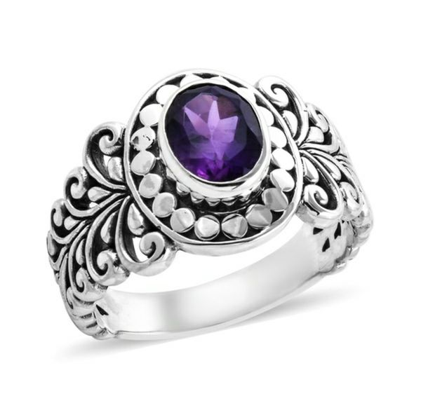 Amethyst 925 Sterling Sliver Solitaire Ring