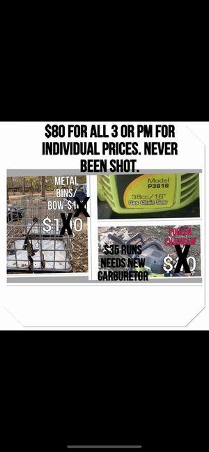 Metal bins /chain saw for Sale in Columbus, MS