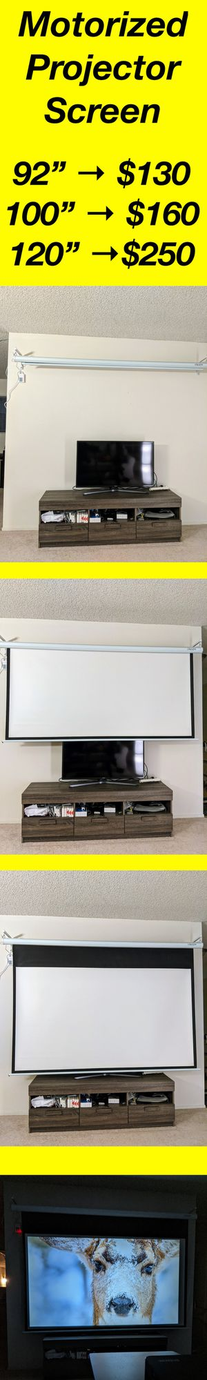 92/100/120 inch 16:9 Electric Motorized Indoor Projector Screen + Remote for Sale in Torrance, CA