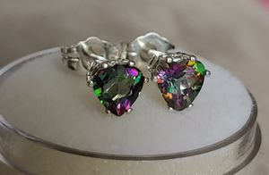 925 Sterling Silver Rainbow Mystic Heart Topaz Stud Earrings for Sale in Bonney Lake, WA