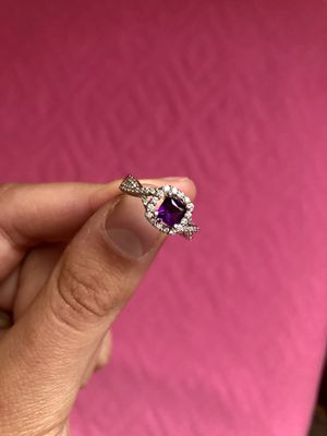 Amethyst Ring Cushion-Cut with Diamonds for Sale in Des Plaines, IL