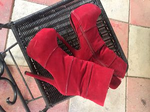 Red high heel suede boots for Sale in Silver Spring, MD