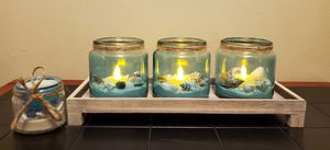 Beachy Candle Set w/led candles for Sale in Seattle, WA