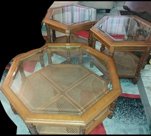 3pc Vintage Mid Century Octogan coffee table & end table set for Sale in Spokane, WA