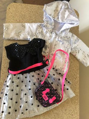 Justice dress and purse with sequins jacket fits American girl dolls for Sale in Gilbert, AZ