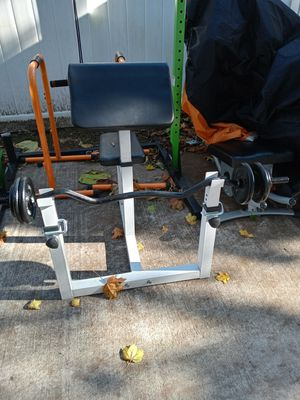 Brand New Preacher curl bench 149... 1 inch curl bar $75 brand new with 50 lb of weight $150 for Sale in East Rockaway, NY