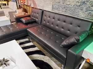 Leather Sectional Sofa Bed, Black for Sale in Santa Ana, CA
