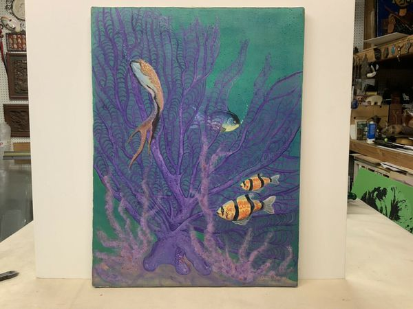 """Original Oil Painting On Canvas Fish In Reef Glitter Signed Jean Norwood 18x24"""""""
