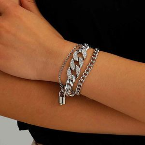 European Style Multilayer Pendant Crystal Chunky Chian Bracelet, Silver Color for Sale in Los Angeles, CA