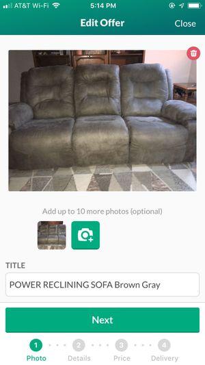 POWER RECLINING SOFA Brown Gray-$150 for Sale in Murfreesboro, TN