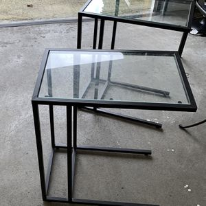 2 Matching Black Metal With Glass End Tables for Sale in Seattle, WA