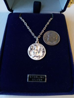 St Thomas More, Patron Saint of Attorneys, sterling silver metal on an 18 inch stainless steel chain. Religious jewelry. for Sale in Stockton, CA