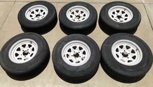 "6 trailer wheels and tires 14"" standard 5 bolt pattern for Sale in Fontana, CA"