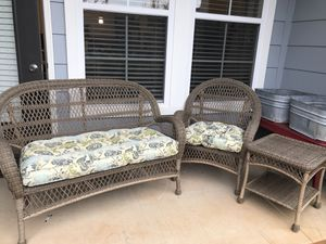 Pier one wicker set with cushions! for Sale in Knoxville, TN