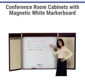 Like new Egan 4'x4' conference cabinet with magnetic white marker board + fabric bulletin board for Sale in Arcadia, CA
