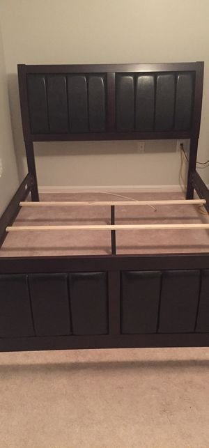 Brand New Queen Size Wood/Leather Bed Frame ONLY for Sale in Wheaton-Glenmont, MD