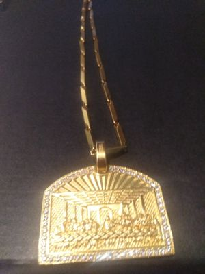18k gold plated pendant and chain for Sale in Houston, TX