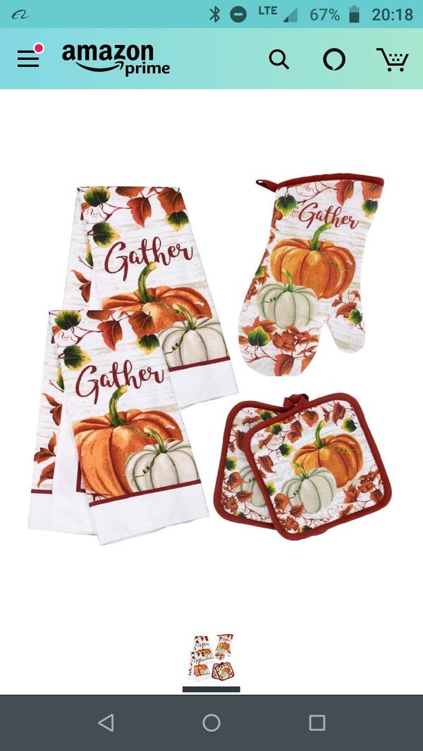 5 pieces Fall Harvest Pumpkin Gathering Kitchen Towel Hot Pads Oven Mit Set Holiday Decor