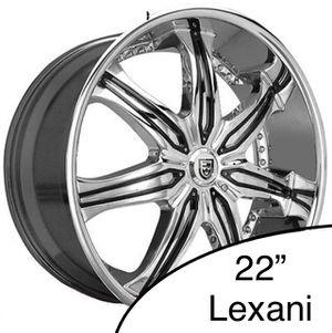 "3x 22"" Lexani LX-7 Rims - Chrome w/ Black Inserts for Sale in Burien, WA"