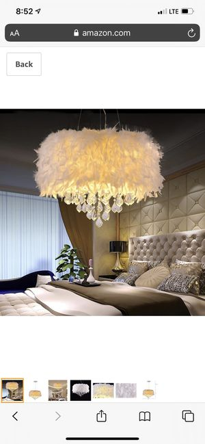 White Feather Crystal Chandelier 4-Light Pendant Light for Sale in Ashland, MA