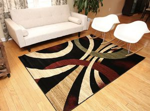 Feraghan/New City used Contemporary Modern Wavy Circles Area Rug, 9' x 12', Brown Beige for Sale in San Diego, CA