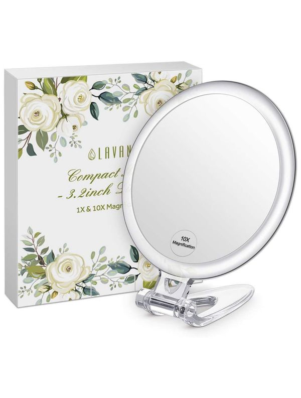Lavany Compact Mirror Handheld Makeup Mirror for Vanity 1x & 10x Magnification, Perfect Travel (Small)