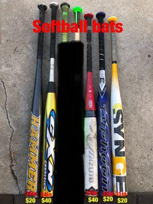 Softball gloves and softball bats equipment Easton mako demarini mizuno Louisville slugger Rawlings Wilson easton for Sale in Culver City, CA