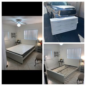 New bedroom sets 4 pieces bed, mattress, dresser, mirror FREE DELIVERY QUEEN SIZE 495, full 485, twin 455. Available in white black brown for Sale in Hollywood, FL