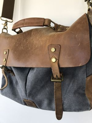 Leather and canvas messenger laptop bag for Sale in Newton, MA