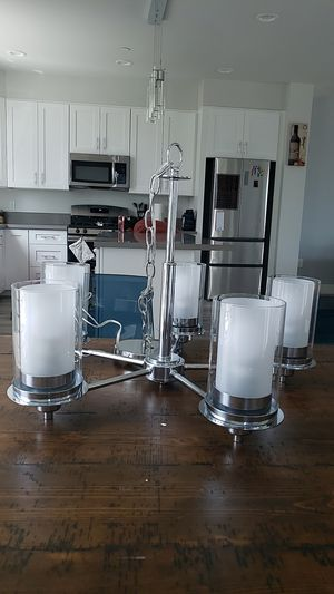 Modern chrome and glass chandelier (NEVER USED) for Sale in Norwalk, CA