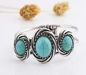 Fashion Vintage Turquoise Silver Plated Bohemian Bangle Bracelet for Sale in Wichita, KS