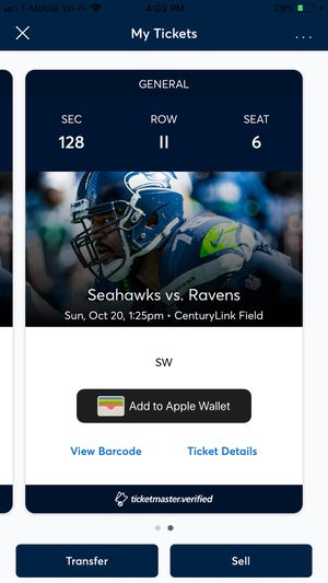 🔥🔥Two great tickets. Seahawks vs Ravens. Section 128 Row II.🔥 for Sale in Seattle, WA