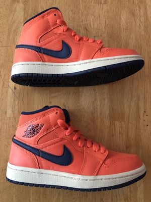 Brand new Nike air Jordan 1 mid Orange shoes women's 5, 8, Youth 3.5y, 6.5y for Sale in El Cajon, CA