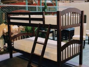 BRAND NEW ! Brown Twin over Twin Bunk bed with mattress for Sale in Grand Prairie, TX