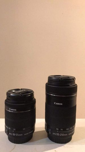 Canon lenses 18-55 mm and 55-250mm both with image stabilization for Sale in Dublin, OH