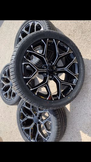 "New 22"" black / Milled rims and Tires with 100% tread 6 lug wheels 22 inch 22s Rines y llantas Chevrolet Silverado Tahoe Avalanche GMC Sierra Yukon s for Sale in Dallas, TX"