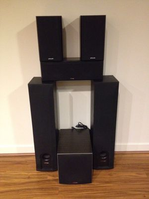 6 Speaker Polk system including Sub Woofer with an Onkyo receiver for Sale in Walnut Creek, CA
