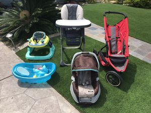 Baby bundle! Walker, jogger, high chair, car seat, tub for Sale in Huntington Beach, CA